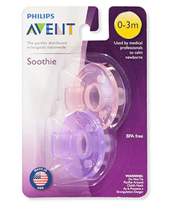 2-Pack Soothie Pacifiers by Avent in Pink/purple, Infants