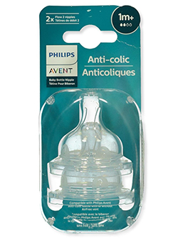 2-Pack Slow Flow Anti-Colic Bottle Nipples by Avent in White, Infants