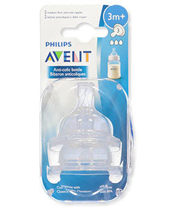 2-Pack Medium Flow Anti-Colic Bottle Nipples by Avent in White, Infants