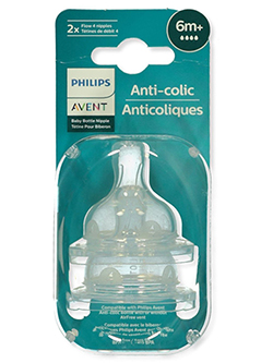 2-Pack Fast Flow Anti-Colic Bottle Nipples by Avent in White, Infants