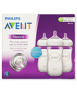 3-Pack Natural Glass Bottles by Avent in White