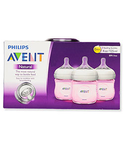 3-Pack Natural Bottles by Avent in Pink, Infants
