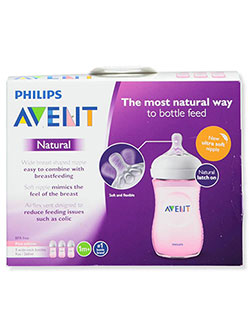 3-Pack Natural Wide-Neck Bottles by Avent in Pink, Infants