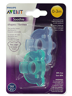 2-Pack Soothie Shapes Pacififers by Avent in Green, Infants