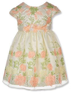 Girls' Floral Dress by Purple Rose in Coral