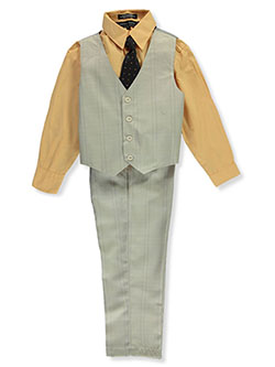 Boys' Tie Diamond 4-Piece Vest Set by Andrew Fezza in Tan