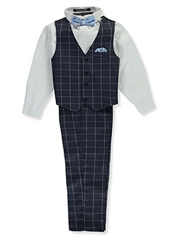 Bow Tie Checkered Stripe 4-Piece Vest Set by Andrew Fezza in Navy