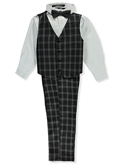 Bow-Tie Full Checkered 4-Piece Vest Set by Andrew Fezza in Black