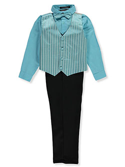 Bow-Tie Stripe Block 4-Piece Vest Set by Andrew Fezza in Turquoise