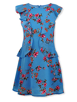 Girls' Floral Ruffle Dress by Laundry by Shelli Segal in Blue