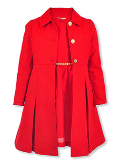 Girls' Gem Trim Dress & Coat Set by Purple Rose in Red