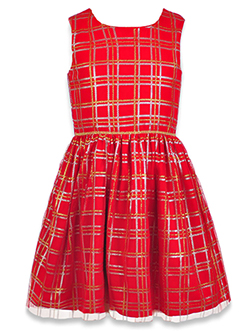 Girls' Plaid & Plush Dress with Shrug by Purple Rose in Multi