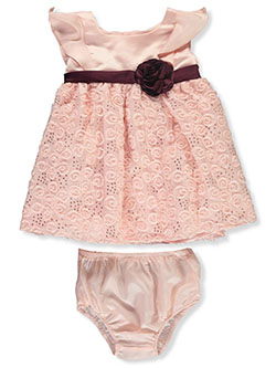 Swirl Overlay Dress with Diaper Cover by Purple Rose in Pink