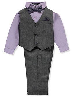 Baby Boys' 4-Piece Vest Set by Andrew Fezza in Charcoal gray