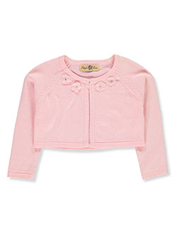 Girls' Rosette Neckline Shrug Cardigan by Purple Rose in Pink, Sizes 2T-4T