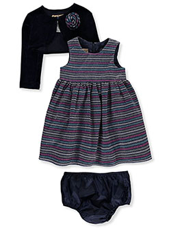 Dress With Shrug & Diaper Cover Set by Purple Rose in Navy, Infants