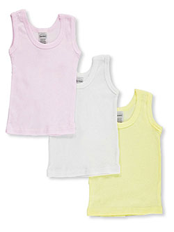 Baby Girls' 3-Pack Sleeveless T-Shirts by Bambini in Pink/yellow
