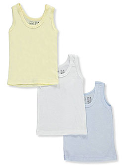 Baby Boys' 3-Pack Sleeveless T-Shirts by Bambini in White/light blue, Infants