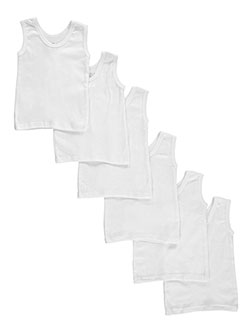 Unisex Baby 6-Pack Tank Tops by Bambini in White