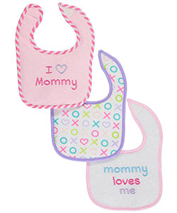 "Luvable Friends ""Heart Mommy"" 3-Pack Bibs - CookiesKids.com"