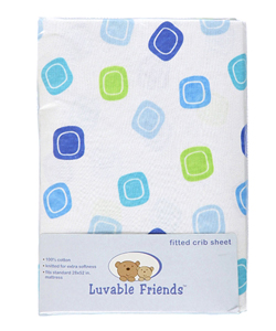 """Squared Off"" Fitted Crib Sheet by Luvable Friends in Blue"