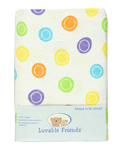 """Mod Dots "" Fitted Crib Sheet by Luvable Friends in Yellow/green"