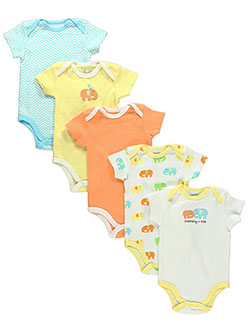 5-Pack Bodysuits by Luvable Friends in White/yellow/multi, Infants