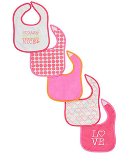 "Luvable Friends Baby Girls' ""Sugar & Spice"" 5-Pack Bibs - CookiesKids.com"