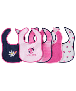 "Luvable Friends Baby Girls' ""Little Lady"" 5-Pack Bibs - CookiesKids.com"