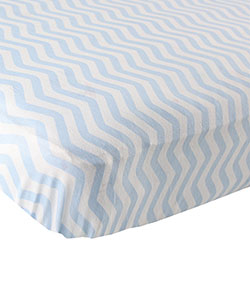 """Soft Zigzag"" Fitted Crib Sheet by Luvable Friends in Blue"