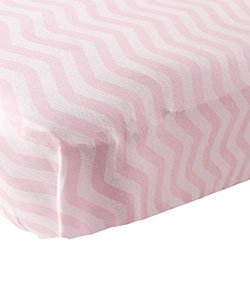 """Soft Zigzag"" Fitted Crib Sheet by Luvable Friends in Pink"