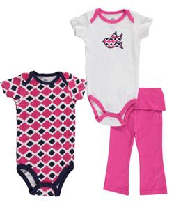 "Yoga Sprout Baby Girls' ""Ikat Bird"" 3-Piece Layette Set - CookiesKids.com"