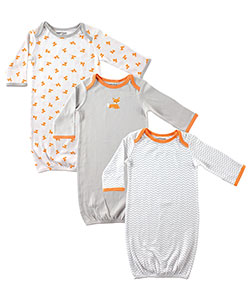 "Luvable Friends Baby Boys' ""Foxes at Play"" 3-Pack Gowns - CookiesKids.com"