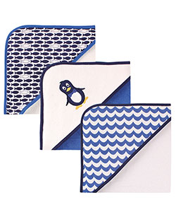 3-Pack Hooded Towels by Luvable Friends in Navy/white