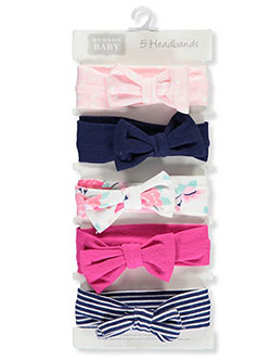 """Pretty Patterns"" 5-Pack Headbands by Hudson Baby in Pink/navy"
