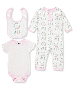 Baby Girls' 3-Piece Set by Hudson Baby in Pink/multi