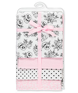 4-Pack Receiving Blankets by Hudson Baby in Black and pink flowers