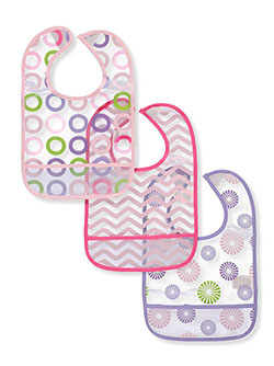 3-Pack Easy-Clean Bibs by Luvable Friends in Pink pinwheels