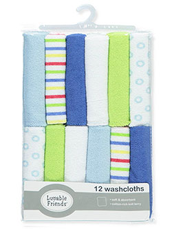 12-Pack Washcloths by Luvable Friends in blue, pink and yellow, Infants