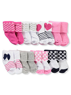 Baby Girls' 8-Pack Foldover Socks by Luvable Friends in Pink/multi, Infants