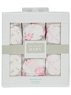 Hudson Floral 3-Pack Swaddle Blankets by Hudson Baby in Multi