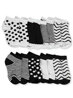 Patterned 8-Pack Ankle Socks by Luvable Friends in Black/white