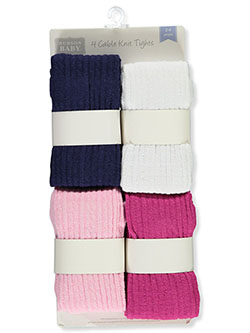 Baby Girls' 4-Pack Cable-Knit Tights by Hudson Baby in Navy/multi