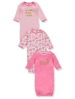 Baby Girls' Shine 3-Pack Gowns by Luvable Friends in Multi