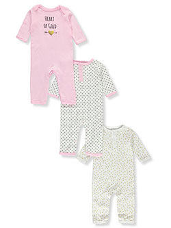 Baby Girls' Heart 3-Pack Coveralls by Luvable Friends in Multi