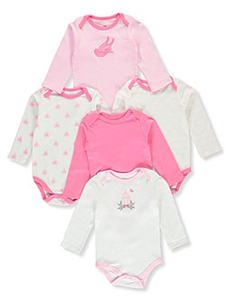 Bird 5-Pack L/S Bodysuits by Luvable Friends in Multi, Infants