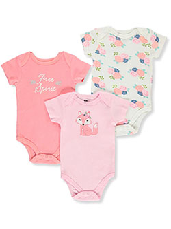 Baby Girls' 3-Pack Bodysuits by Hudson Baby in Multi