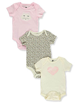 Baby Girls' 3-Pack Bodysuits by Hudson Baby in Pink
