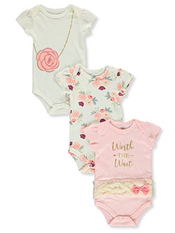 Baby Girls' Rose 3-Pack Bodysuits by Little Treasure in Peach