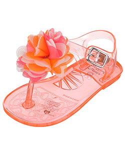"Stepping Stones Baby Girls' ""Thong Toe Chiffon Rosette"" Jelly Sandals - CookiesKids.com"